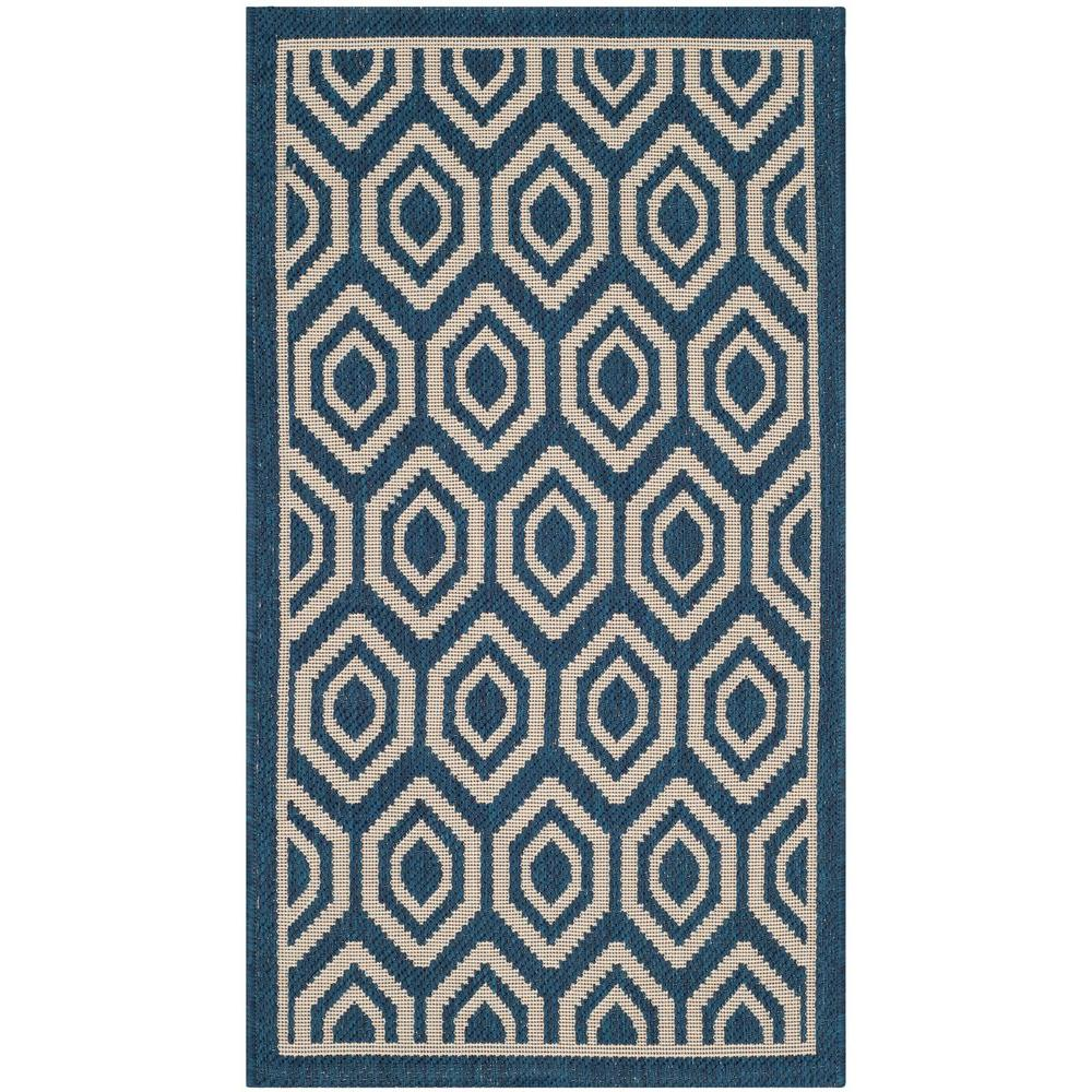 Safavieh Courtyard Navy/Beige 2 ft. x 3 ft. 7 in. Indoor/Outdoor Area Rug