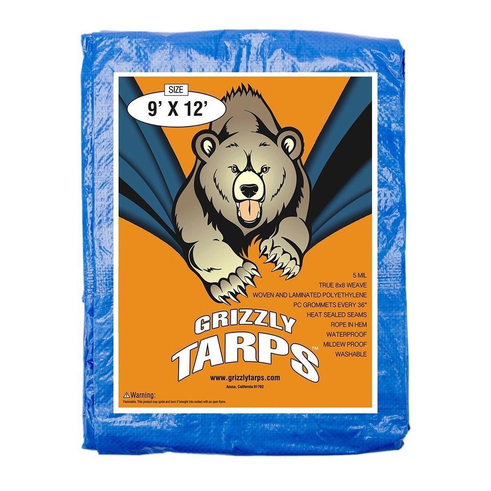 9 ft. x 12 ft. Blue Multi-Purpose 5 mil 8 sq. in. x 8 sq. in. Weave Waterproof Poly Tarpaulin, 15-Pack