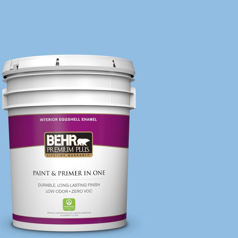 BEHR Premium Plus 5-gal. #P520-3 Toile Blue Eggshell Enamel Interior Paint
