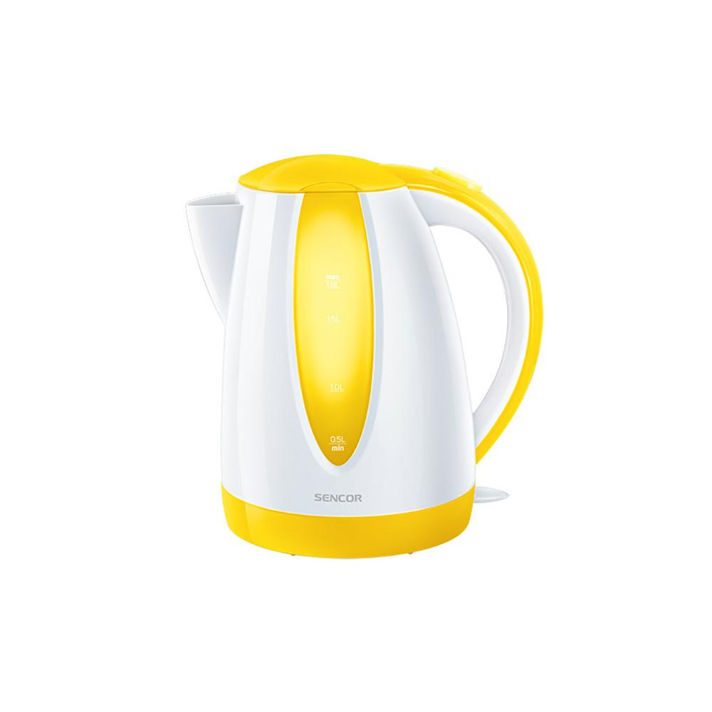 Sencor 7.6-Cup Cordless Yellow Electric Kettle with Automatic Shut Off Cordless electric kettles by Sencor heats water twice as fast as stove top, offering better speed, convenience, energy efficiency and safety This electric kettle comes with a 360° swivel and bright finish. Color-coordinate with other kitchen electrics by Sencor to create a beautiful kitchen with European design touch. Color: Yellow.