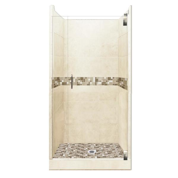 Tuscany Grand Hinged 36 in. x 36 in. x 80 in. Center Drain Alcove Shower Kit in Desert Sand and Chrome Hardware