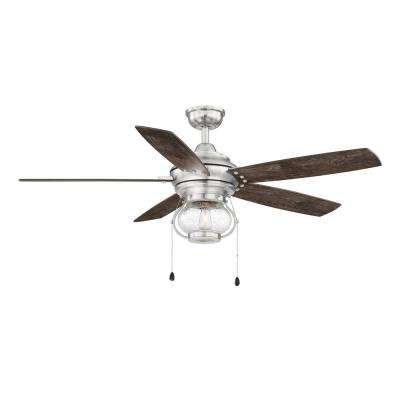 Raina 52 in. LED Outdoor Brushed Nickel Ceiling Fan with Light