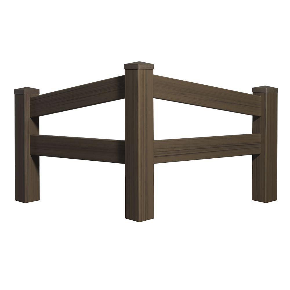 5 ft. H x 4 ft. W Chestnut Brown Vinyl Angled Fence Panel Kit