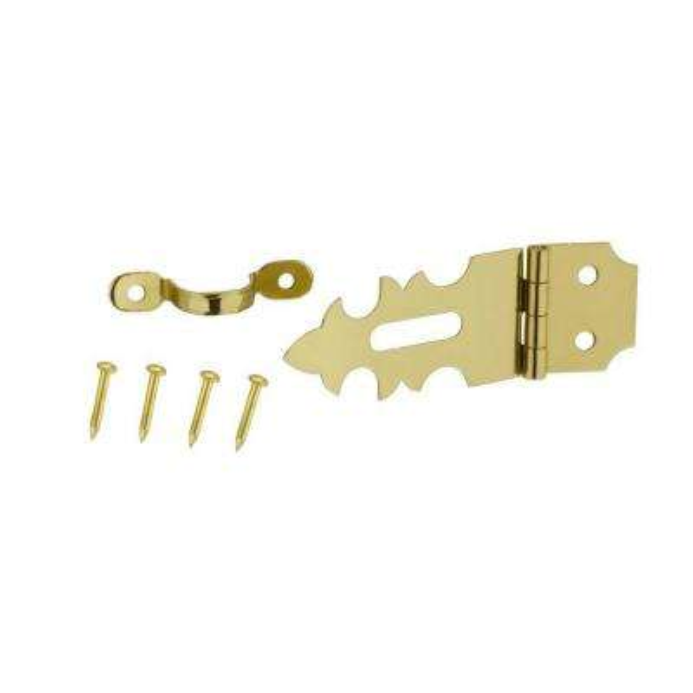 5/8 in. x 1-13/32 in. Bright Brass Decorative Hasp