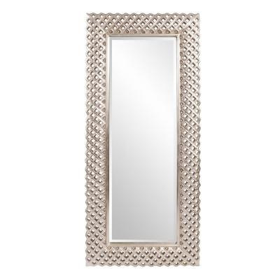 Oversized Rectangle Bright Silver Hooks Modern Mirror (71 in. H x 32 in. W)