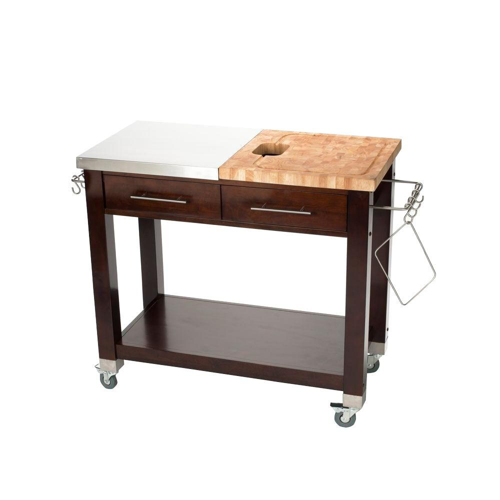 Chris & Chris Chef Stainless Steel Kitchen Cart With Wood Top ...