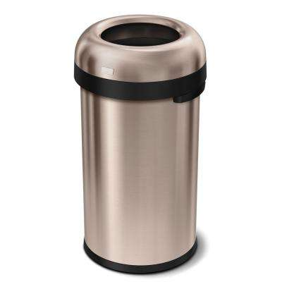 16 Gal Rose Gold Heavy-Gauge Stainless Steel Bullet Round Open Top Trash Can
