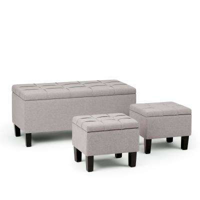Attirant Dover Cloud Grey 3 Piece Storage Ottoman Bench