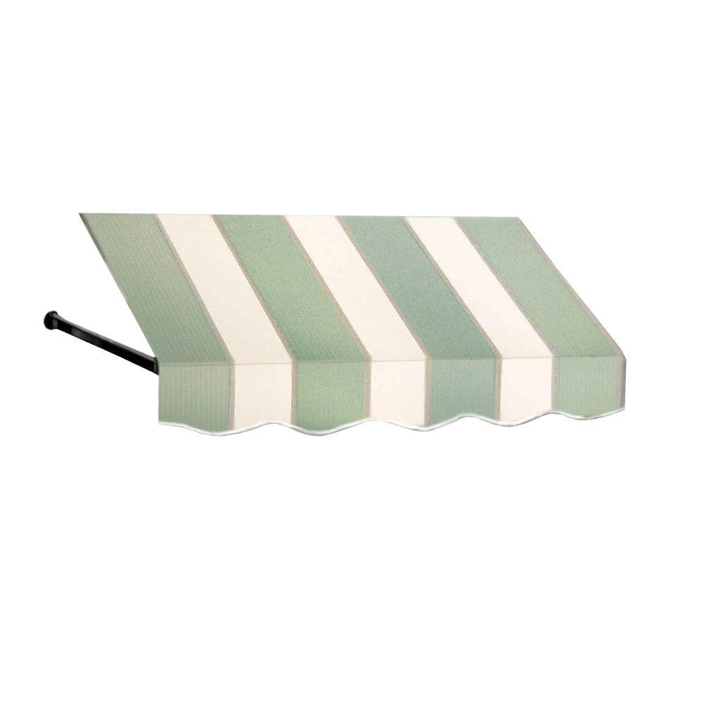 AWNTECH 16 ft. Dallas Retro Window/Entry Awning (16 in. H x 24 in. D) in Sage/Linen/Cream Stripe