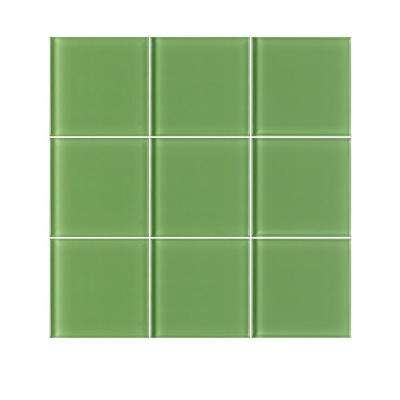 VitraArt Tranquil Lime 4 in. x 4 in. Glass Wall Tile (6 sq. ft. / case)