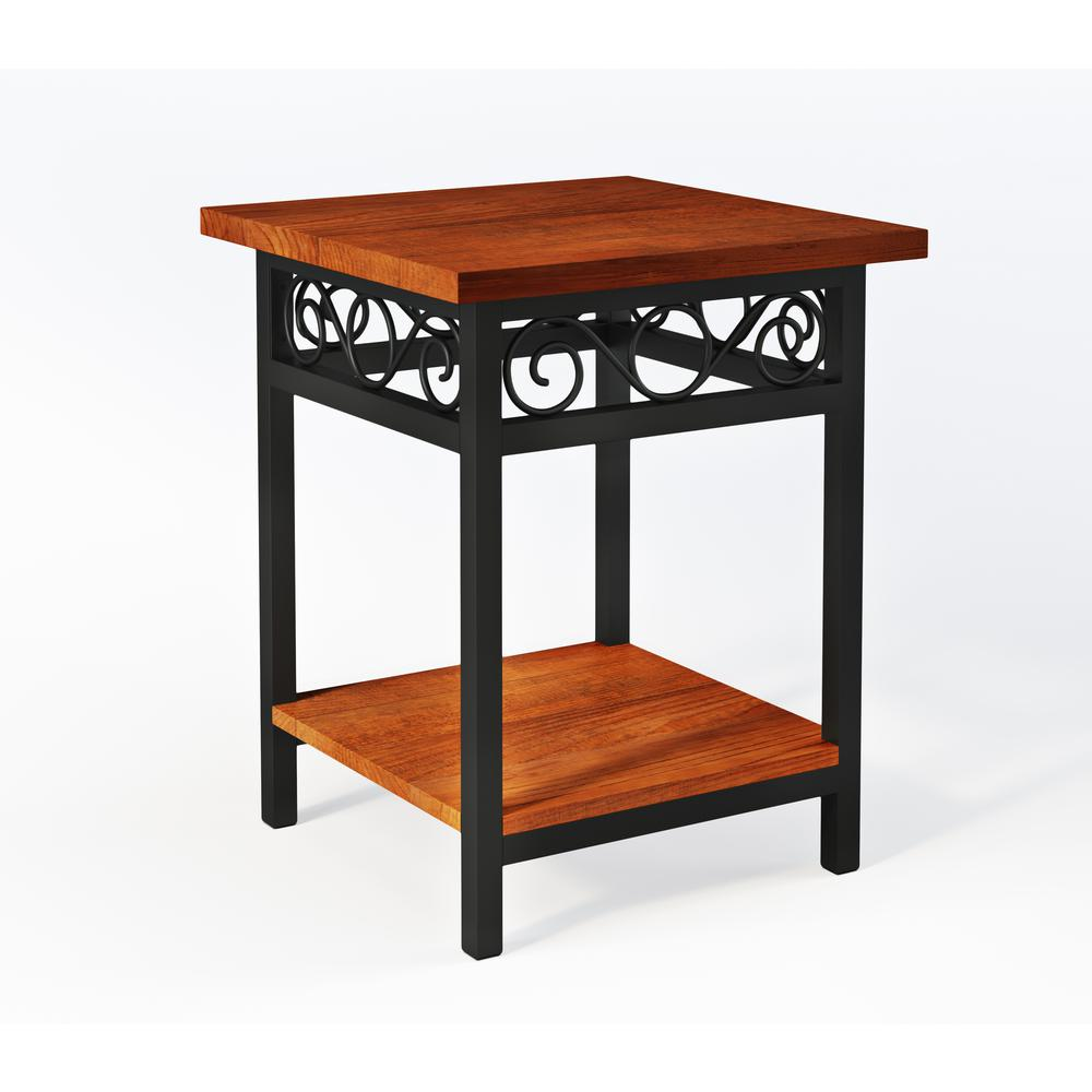 Alaterre Furniture Artesian Brown Scrollwork Round End Table With Chestnut  Finish Top