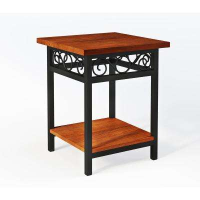 Artesian Brown Scrollwork Round End Table with Chestnut Finish Top