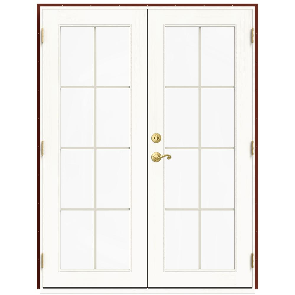 Jeld wen 60 in x 80 in w 2500 red clad wood left hand 8 for Screen for french doors inswing