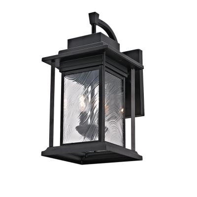 2-Light Transitional Outdoor Wall Light Sconce with Watered Glass, Dark Bronze