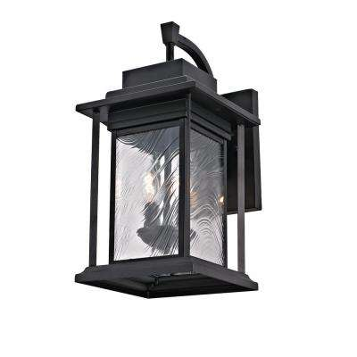 2-Light Transitional Outdoor Wall Light Sconce with Watered Glass, Dark Bronze Finish