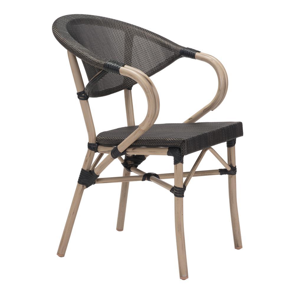 Marseilles Metal Outdoor Patio Dining Chair in Dark Brown (Pack of 2)