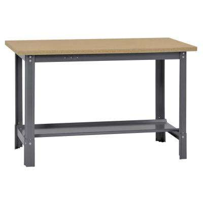 34 in. H x 48 in. W x 24 in. D Wooden Top Workbench with Shelf