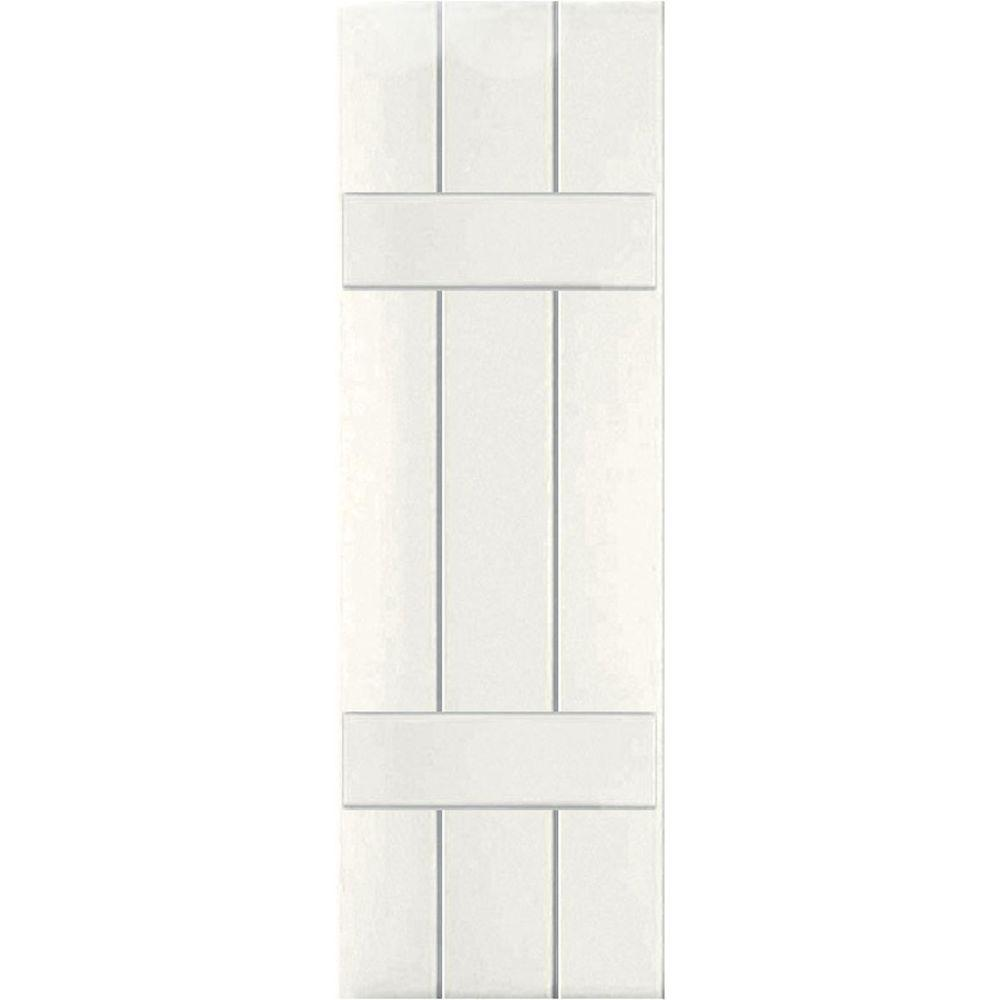 Ekena Millwork 12 in. x 48 in. Exterior Real Wood Western Red Cedar Board & Batten Shutters Pair White