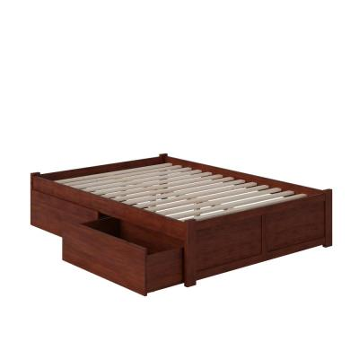 Concord Walnut Full Platform Bed with Flat Panel Foot Board and 2-Urban Bed Drawers