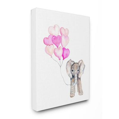 """16 in. x 20 in. """"Baby Elephant with Pink Heart Balloons"""" by Daphne Polselli Printed Canvas Wall Art"""