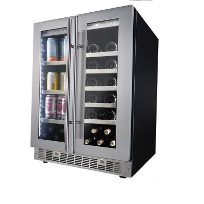 Dual Zone 24 in. Built-In 21-Bottle and 61 Can (12 oz.) Beverage Cooler Fridge with French Doors Stainless Steel