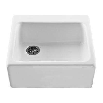Hatfield Farmhouse Apron-Front Cross Link Acrylic 25 in. Single Bowl Kitchen Sink