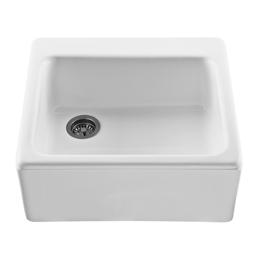 Hatfield Farmhouse Apron-Front Cross Link Acrylic 25 in. Single Bowl Kitchen Sink