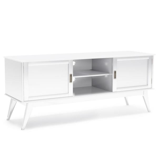Simpli Home Draper Solid Hardwood 60 in. Wide Mid Century Modern TV Media Stand in White For TVs up to 65 in.