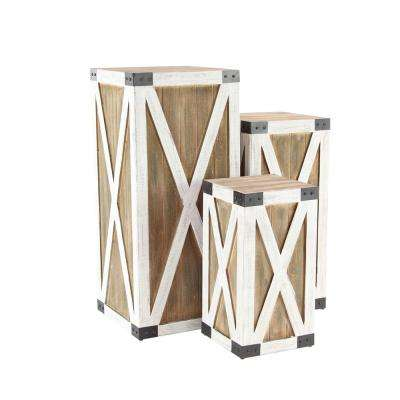 Natural Wood-Finished Crate Pedestals with White Cross Patterns
