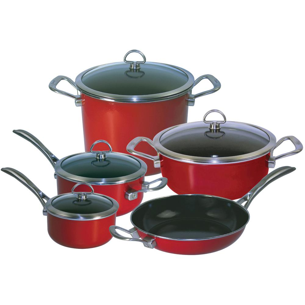 Copper Fusion 9 Piece Cookware Set In Chili Red