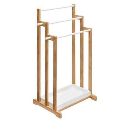 33.10 in L x 13.8 in W x 17.7 in D 3-Tier Bamboo White Bathroom Towel Rack in Brown
