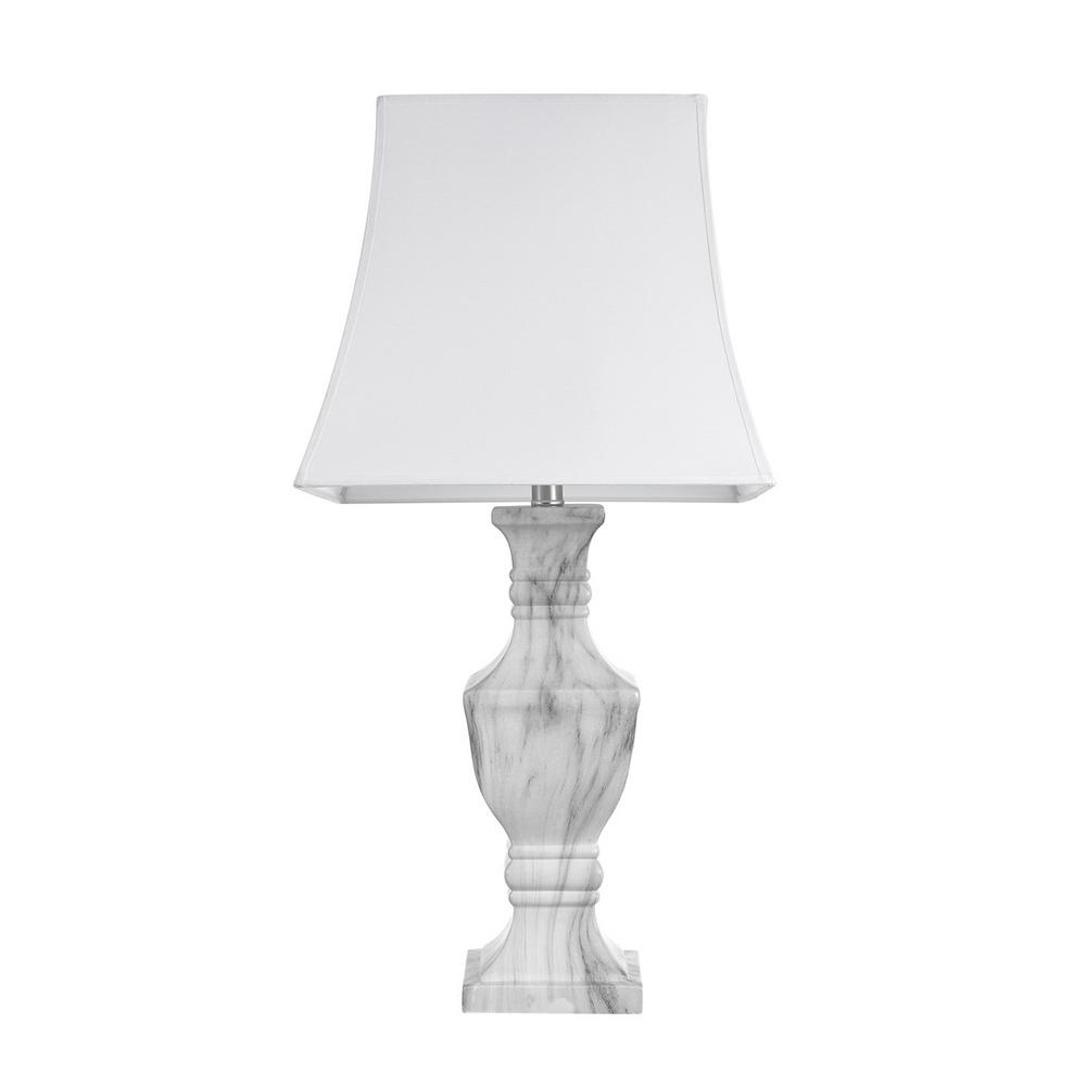 Globe Electric Athens 28 In. White Faux Marble Table Lamp