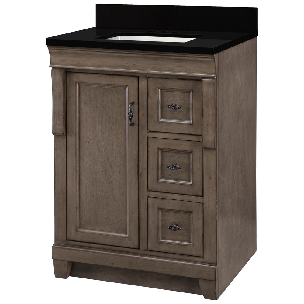 Home Decorators Collection Naples 25 in. W x 22 in. D Vanity in Distressed Grey with Granite Vanity Top in Midnight Black with Trough White Basin was $699.0 now $419.4 (40.0% off)