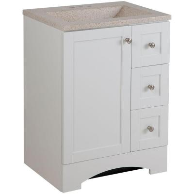 Lancaster 24 in. W Bath Vanity in White with Colorpoint Vanity Top in Maui