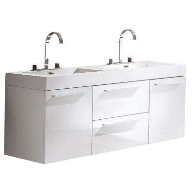 Opulento 54 in. Double Vanity in White with Acrylic Vanity Top in White with White Basin
