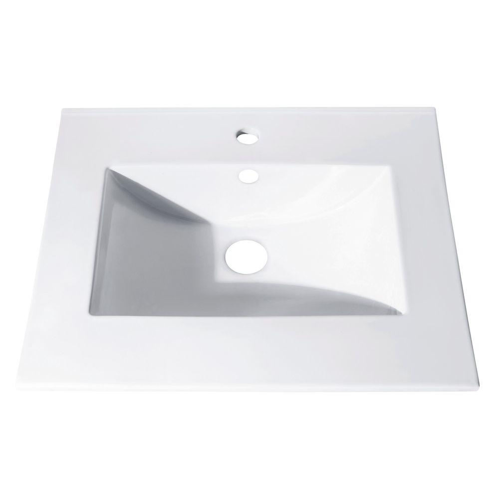25 in. Vitreous China Vanity Top with Rectangular Bowl in White