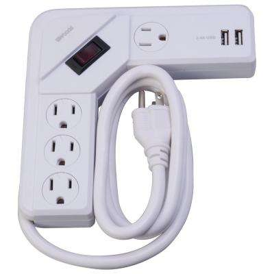 4-Outlet Corner Desktop Surge Protector and USB Charger with 4 ft. Cord