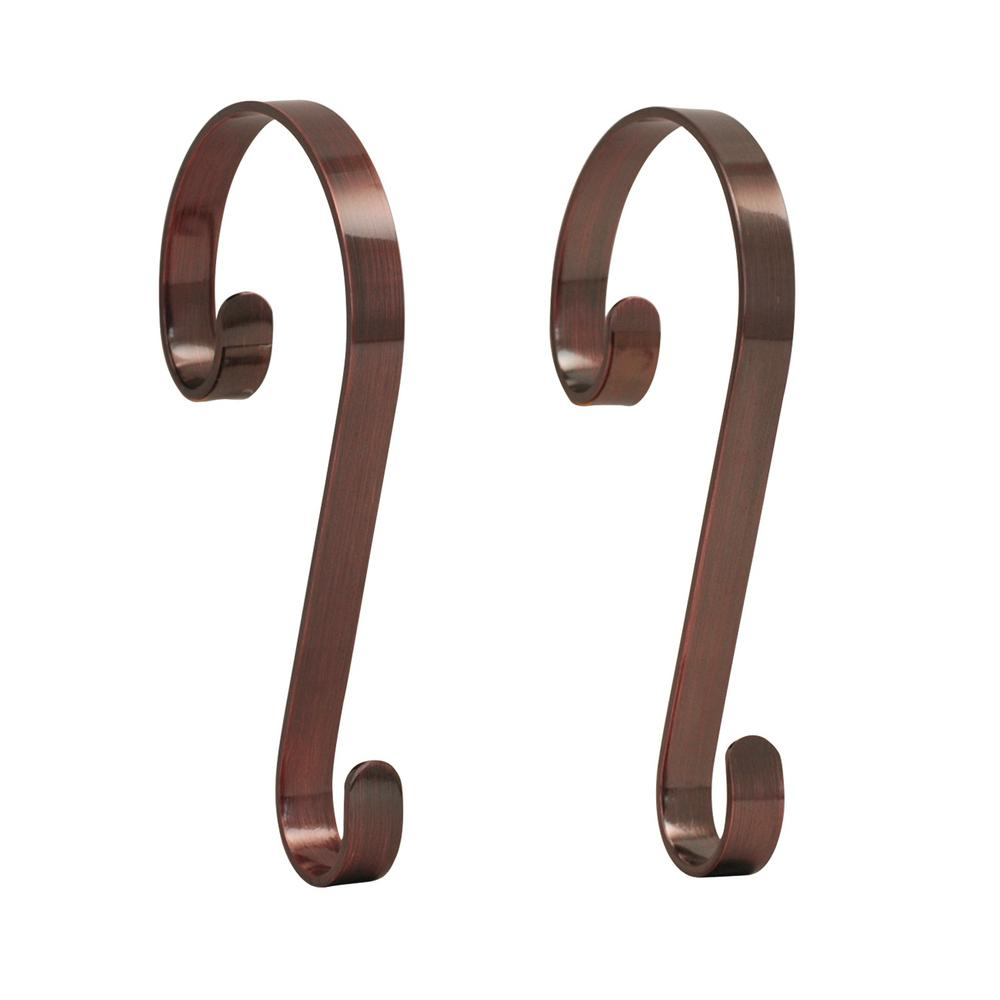 Oil-Rubbed Bronze Stocking Scrolls Stocking Holders (2-Pack)