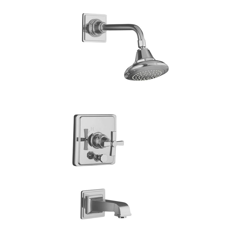 KOHLER Pinstripe 1-Handle Tub and Shower Faucet Trim Only in ...