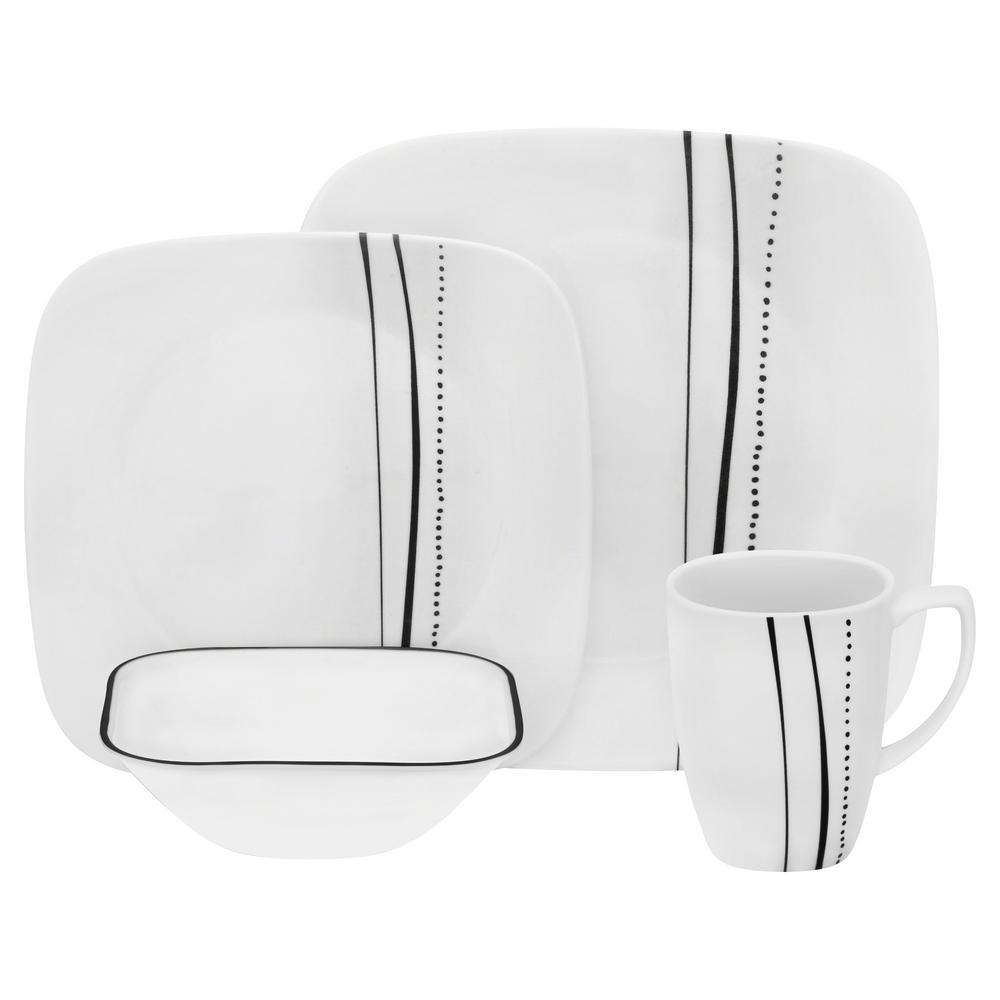 Corelle Square 16-Piece Cascading Lines Dinnerware Set 1123701