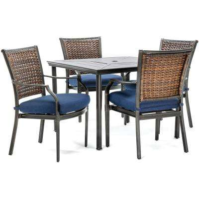 Mercer 5-Piece Aluminum Outdoor Dining Set with Navy Blue Cushions, 4 Dining Chairs and a 40 in. Square Table