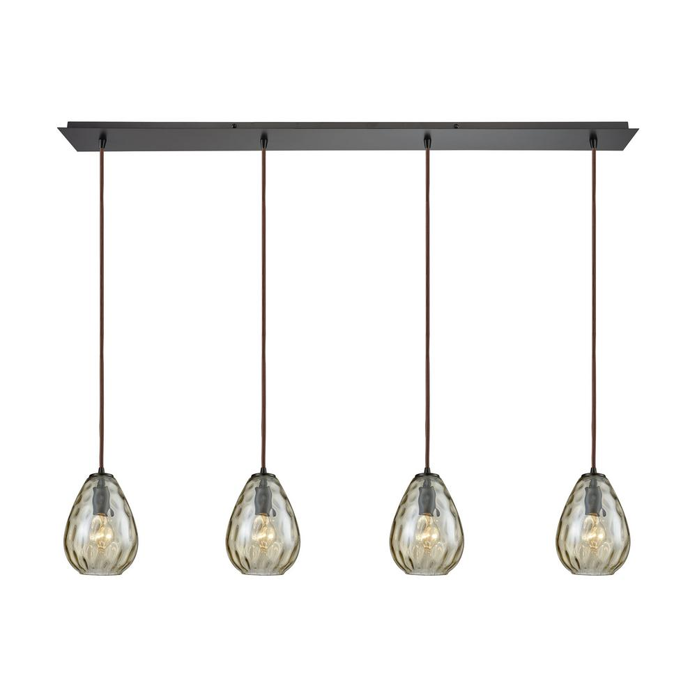 Titan Lighting Lagoon 4-Light Linear Pan in Oil Rubbed Bronze with Champagne Plated Water Glass Pendant