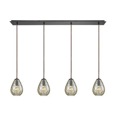 Lagoon 4-Light Linear Pan in Oil Rubbed Bronze with Champagne Plated Water Glass Pendant