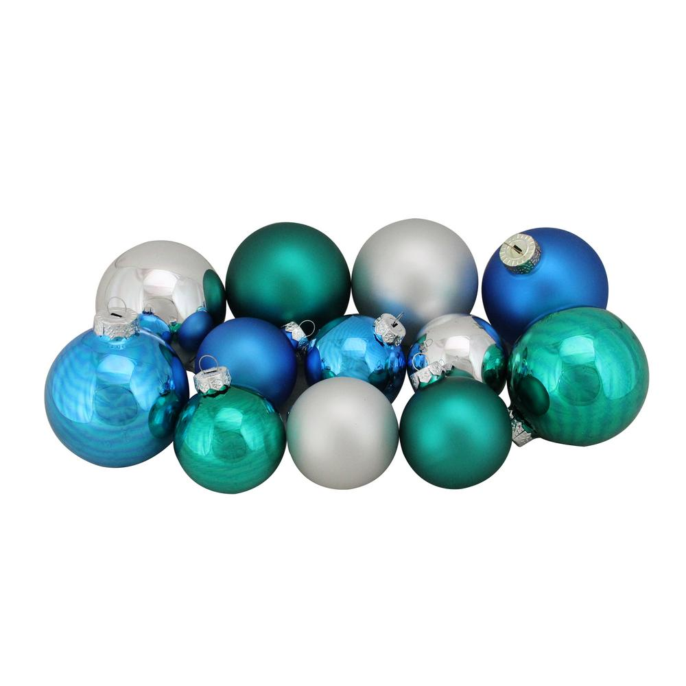 Northlight 2 5 In To 3 25 In Turquoise Blue And Silver Shiny And Matte Glass Ball Christmas Ornaments 96 Count