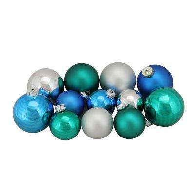 2.5 in. to 3.25 in. Turquoise Blue and Silver Shiny and Matte Glass Ball Christmas Ornaments (96-Count)