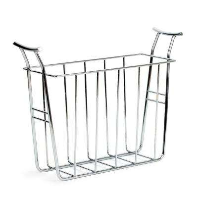 Euro 15.125 in. W x 5.5 in. D x 12.25 in. H Magazine Basket in Chrome