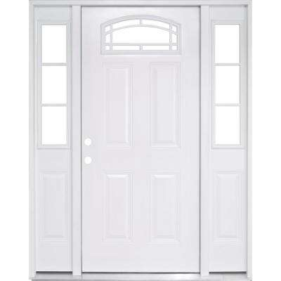 68 in. x 80 in. Camber Top White Right-Hand 14in. 3-Lite Sidelites Primed Steel Prehung Front Door with 6-9/16 in. Frame