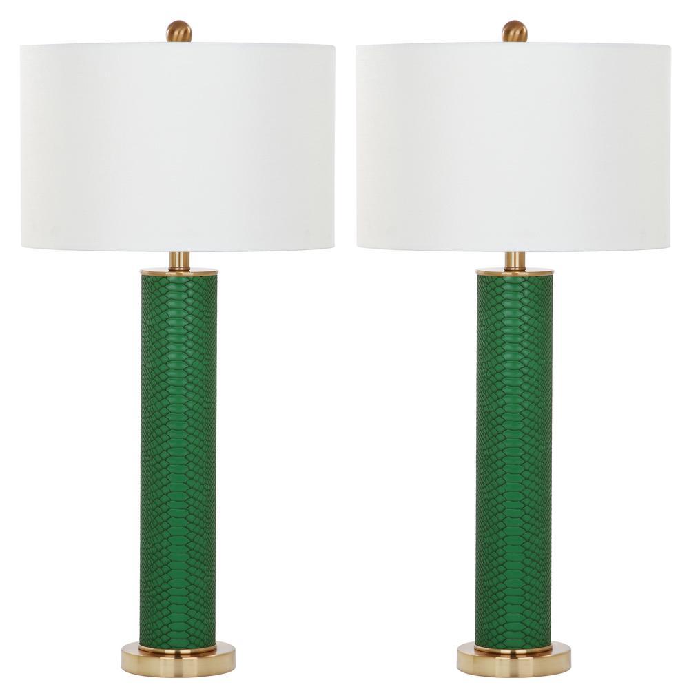 Ollie 31.5 in. Dark Green Faux Snakeskin Table Lamp (Set of 2)