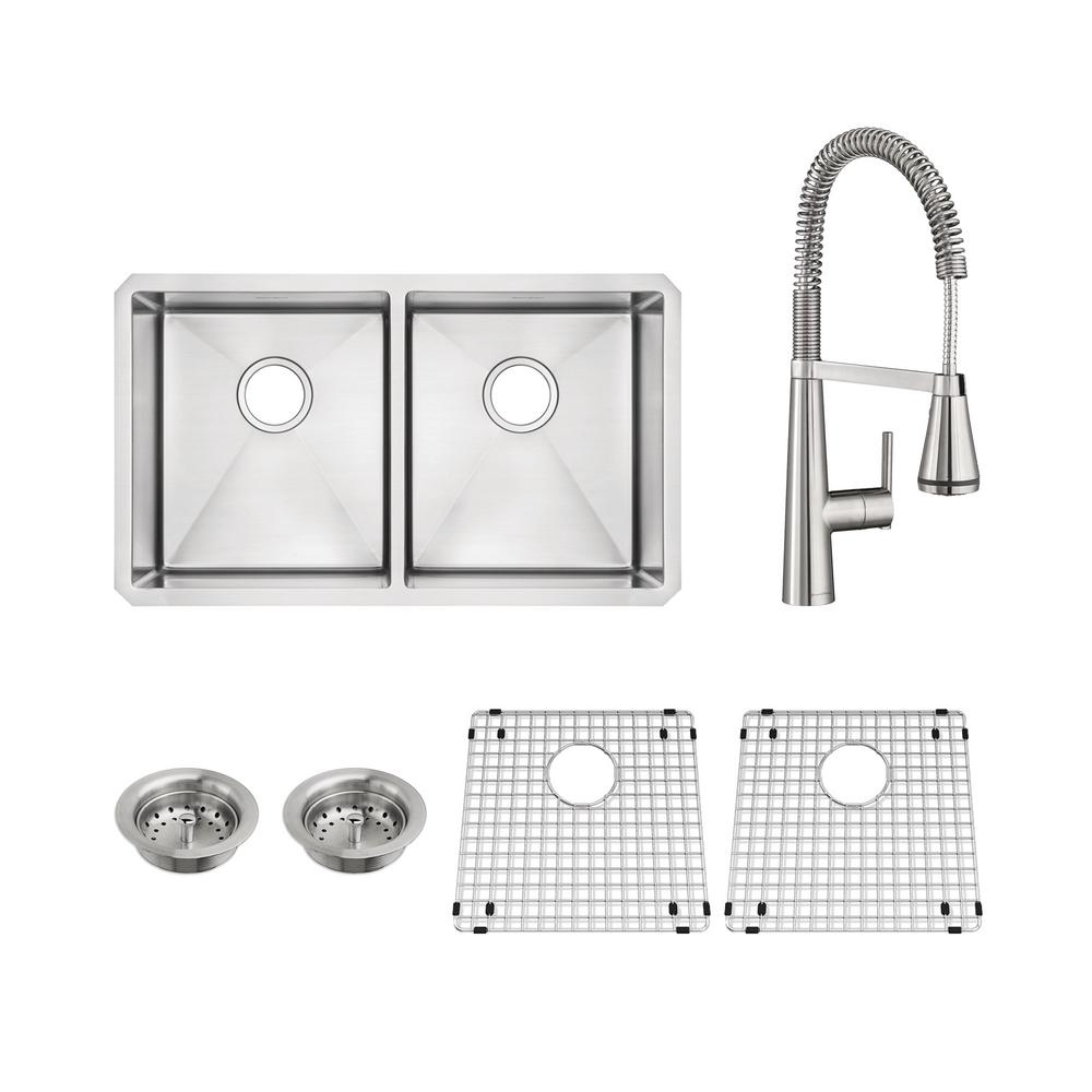 Edgewater All-in-One Undermount Stainless Steel 29 in. 50/50 Double Bowl Kitchen