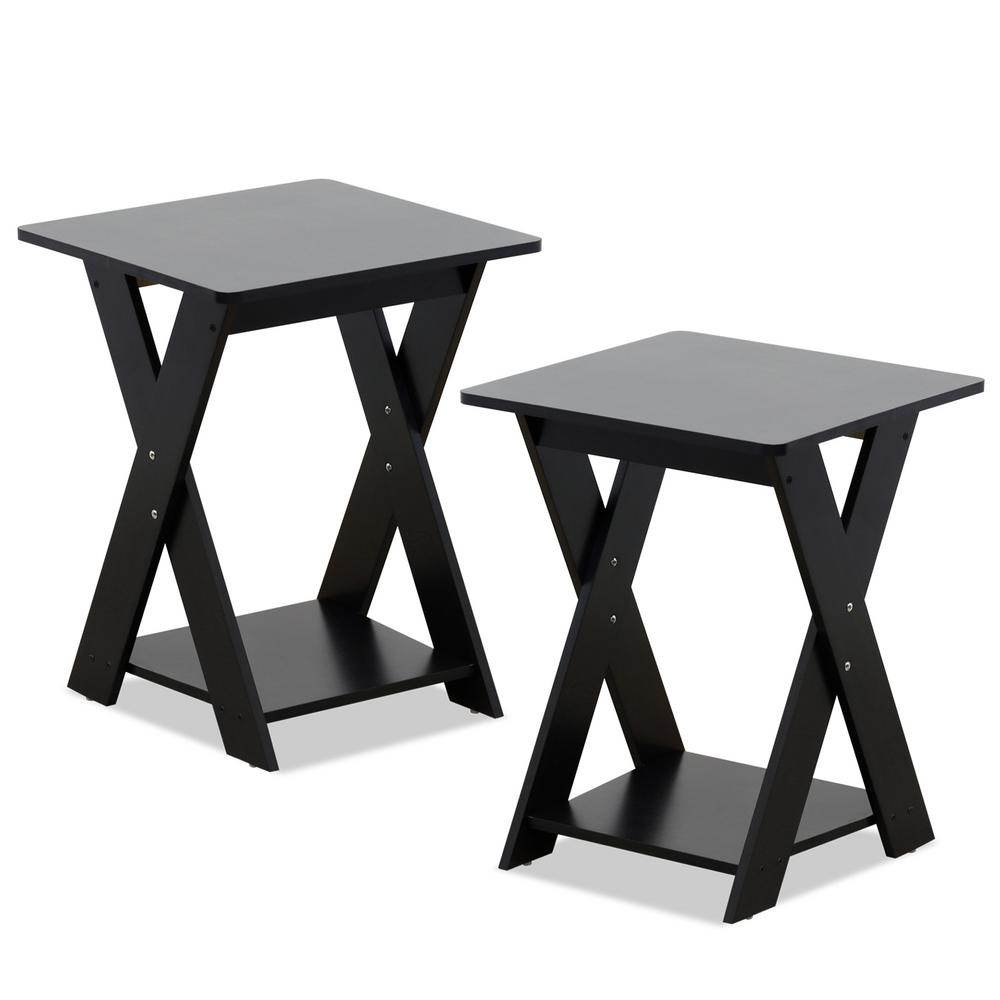 Furinno Modern Simplistic Espresso Criss Crossed End Table Set Of 2